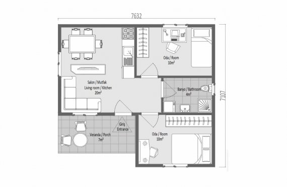 Ferdighus 51 m2