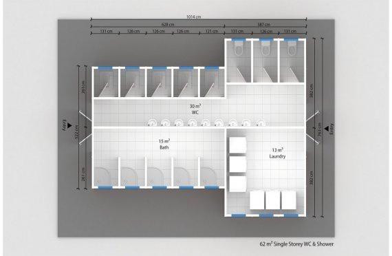 Prefabrikkert Toalett- og Dusj Bygning 62 m²