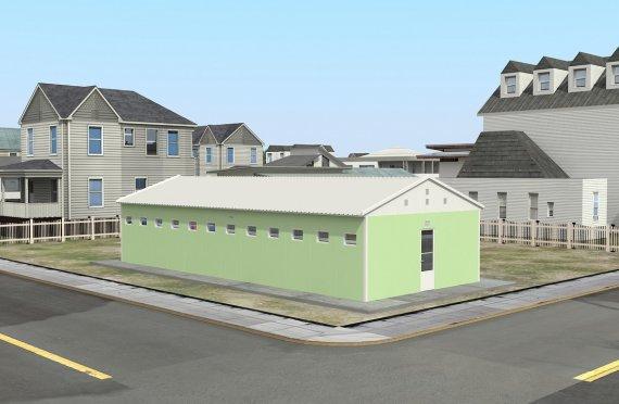 Prefabrikkert Toalett- og Dusj Bygning 97 m²